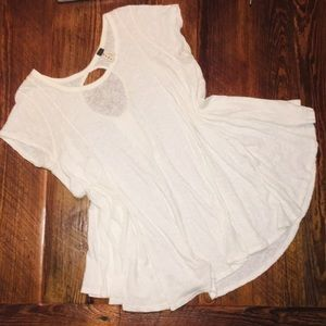 Free People White burnout casual top